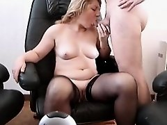 Slutty mature broad in stockings gets banged hard in this voyeur sex video and she seems to be more than content with it. Her big saggy old tits look