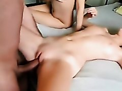 two cute girl threesome fuck