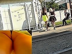 Sexy yellow skirt presents awesome upskirt view