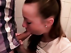 nice cute girl bahtroom blowjob