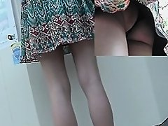 Darksome strap betwixt booty cheeks upskirt