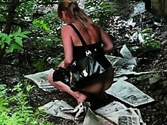 Elegant woman pissing in voyeur video