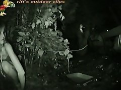 Sexy babe with perfect body pissing in the bush at night