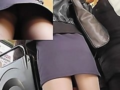 Hose legs up the short petticoat on bus