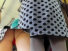 Nice angle of view in the public upskirt pussy videos